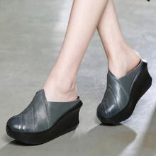 Женские шлепанцы из натуральной кожи GKTINOO, летние туфли на танкетке 8 см, кожаные Тапочки ручной работы в стиле ретро, 2020(Китай)