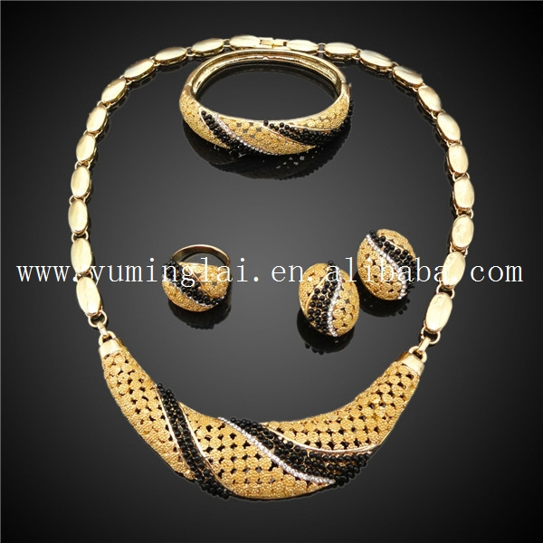 gold plated black pearl jewelry set in simple design View gold
