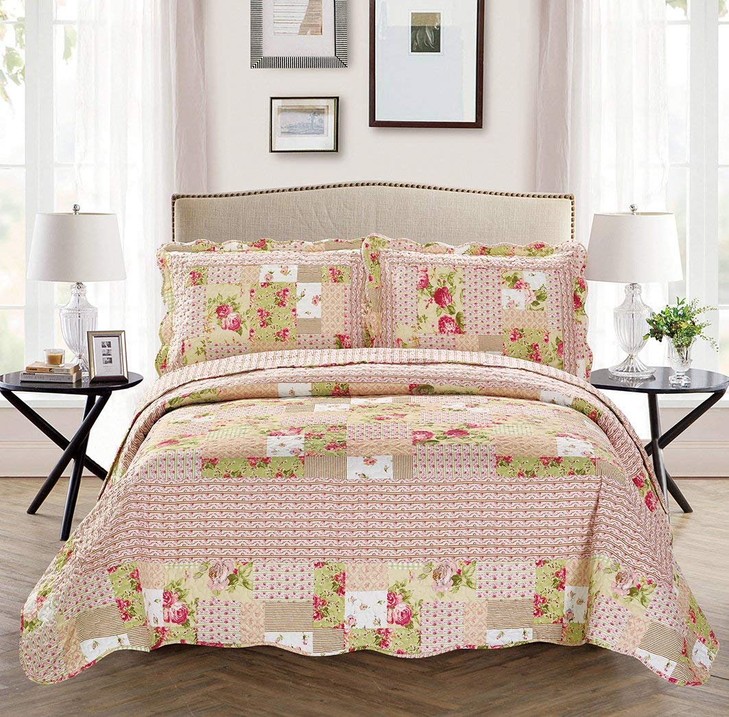 Mk Collection 5pc Day Bed Reversible Quilted Cover Set Floral Beige Pink Green New Mk Home