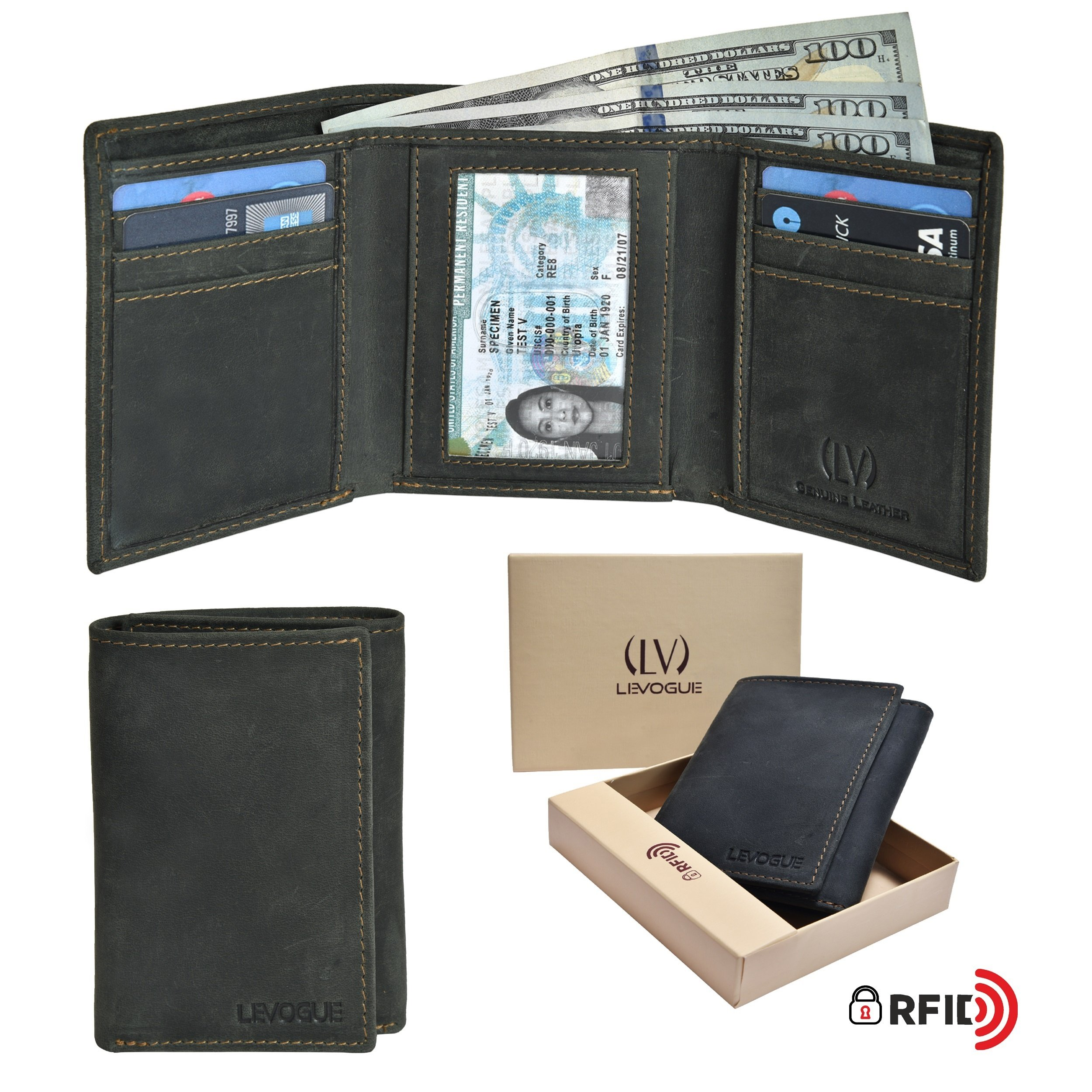Genuine Leather Handmade Mens RFID Blocking Slim Trifold Wallet with 6 Credit Card + 1 ID Window + 2 Note Compartments Wallet Made from 100% Full Grain Cow Leather by LEVOGUE