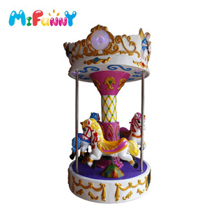 Amusement park kid ride 3 seats mini carousel horses