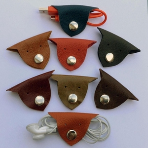 animal shaped earbud organizers grain leather fashion usb cable winders genuine leather hot selling