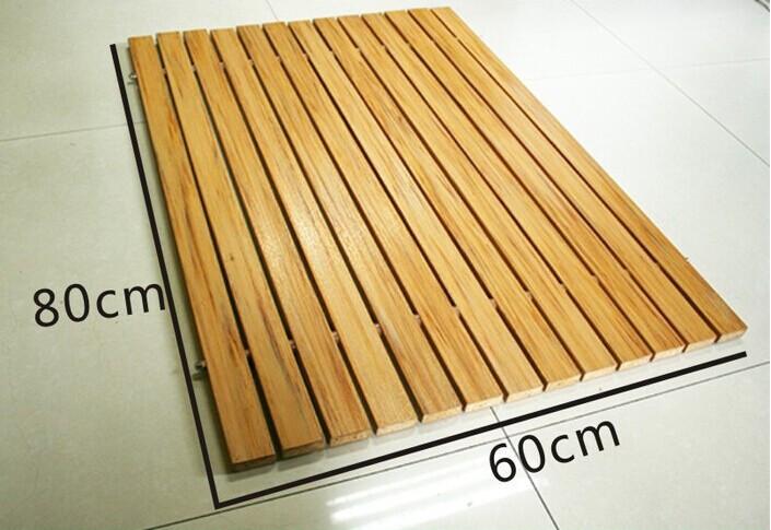111natutal Solid Wooden Bathroom Shower Floor Mat Non-slip ...