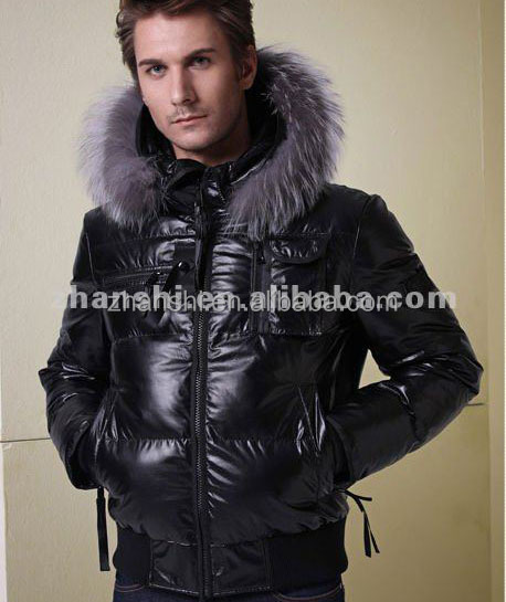 889f0cd7325 Winter Goose Down Feather Filling Mens Hooded Bomber Leather Jacket with  Fox Fur Trim