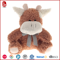 Purchase new design wholesale stuffed short fur cow with ribbon toys