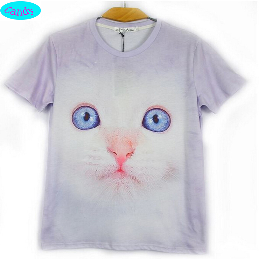 3f89f3e6d73 newest arrive fashion teens girls t-shirt 2016 summer style printed cute  kitten 3D tshirt for girls big kids 12-18 year CT7