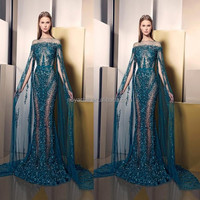 Ziad Nakad See Through Sex Prom Evening Gown With Shawl