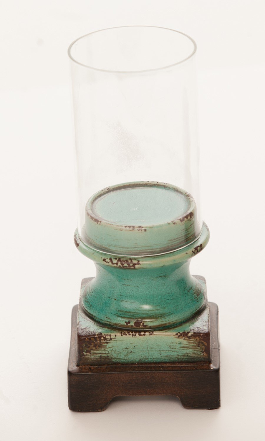 Teal Colored Ceramic Candle Holder with Hurricane Globe