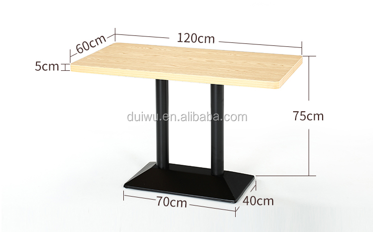 Metal dining table base used for restaurant chunky wood dining table