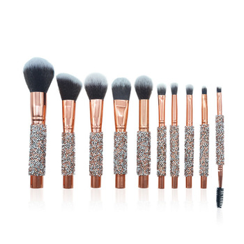 Professional Free Samples 10pcs Luxury Glitter Handle Customised Rose Gold Makeup Brushes Custom With Bag