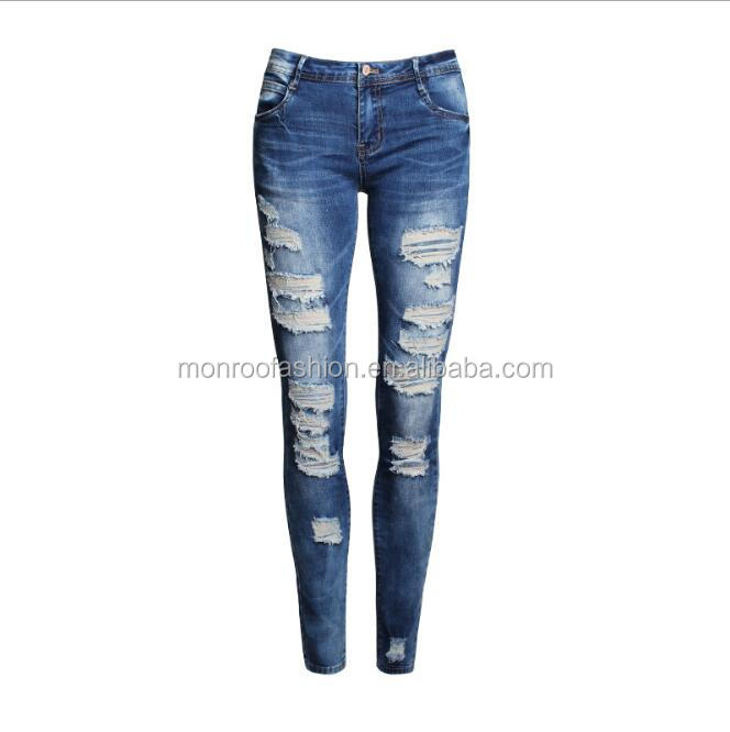 Monroo Women jeans manufacturers china destroy look ladies jeans pants