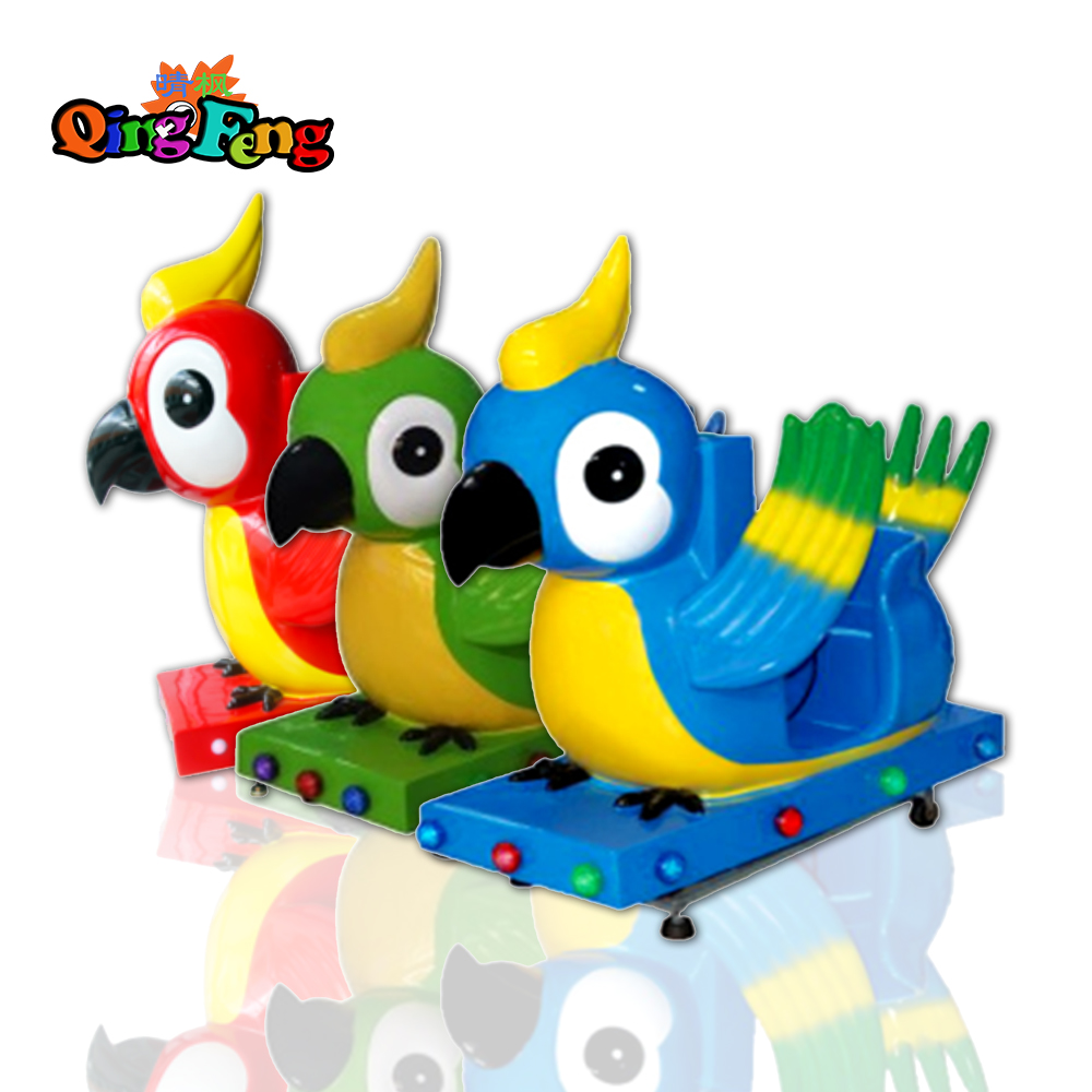Qingfeng 2017 carton fair ride on bird parrot with 3D interactive screen kiddie ride swing game mahcine sale kids