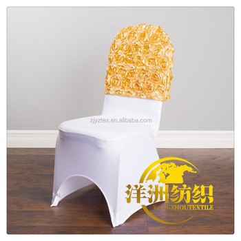 polyester shining gold satin rosette chair cap chair hood for