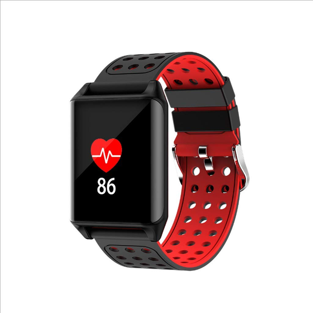 TMY Color Screen Smart Bracelet, Sleep Heart Rate Blood Pressure Detection Call Information Display Support Android, iOS (Color : Red)