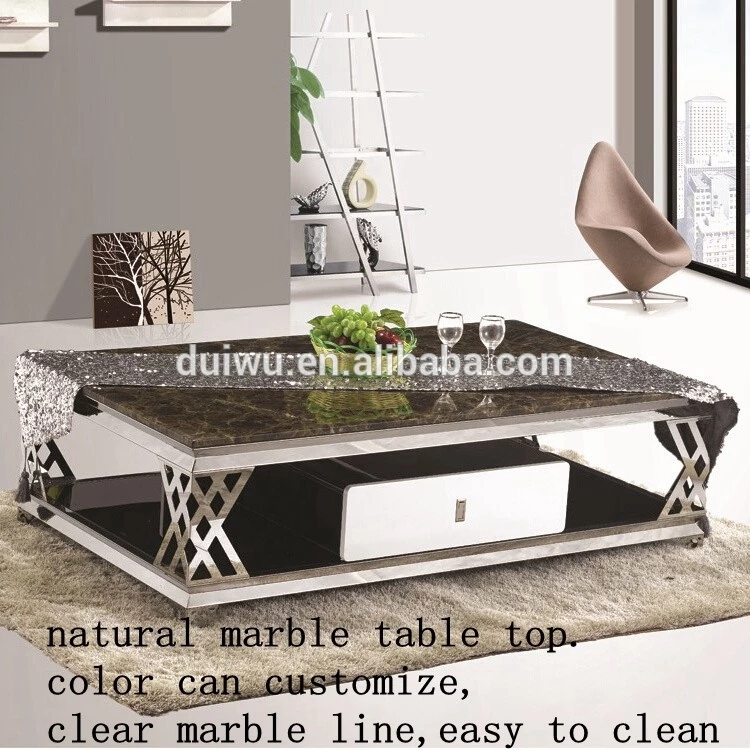 Foshan modern living room furniture cheap high end coffee table set steel base square travertine marble coffee table