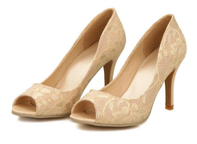 476899210aec Get Quotations · women peep toe pumps pink blue beige stilettos summer lace  wedding bridesmaid bridal shoes 3.4 inch