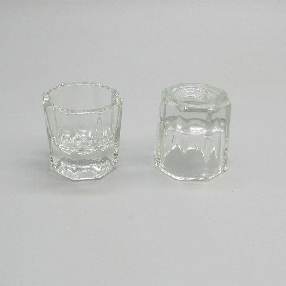 High Quality Clear Empty Glass Nail Cosmetic Container Cup
