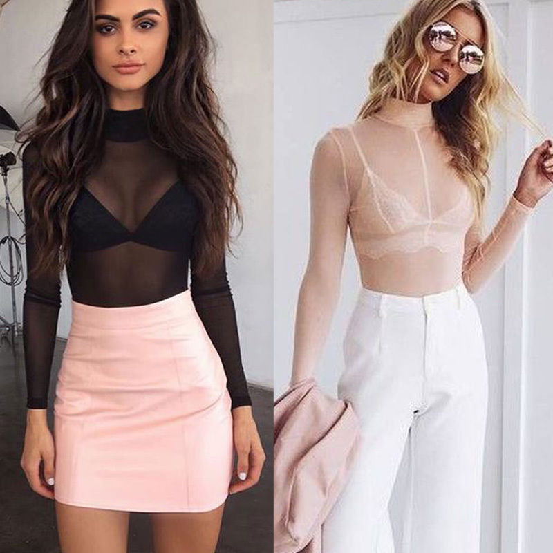 83db7c48130af6 Detail Feedback Questions about Sexy Women 2017 Turtleneck Sheer Mesh Long  Sleeve Tee T Shirt Tops Clubwear Fitness Women Mesh Top Pink Black on ...