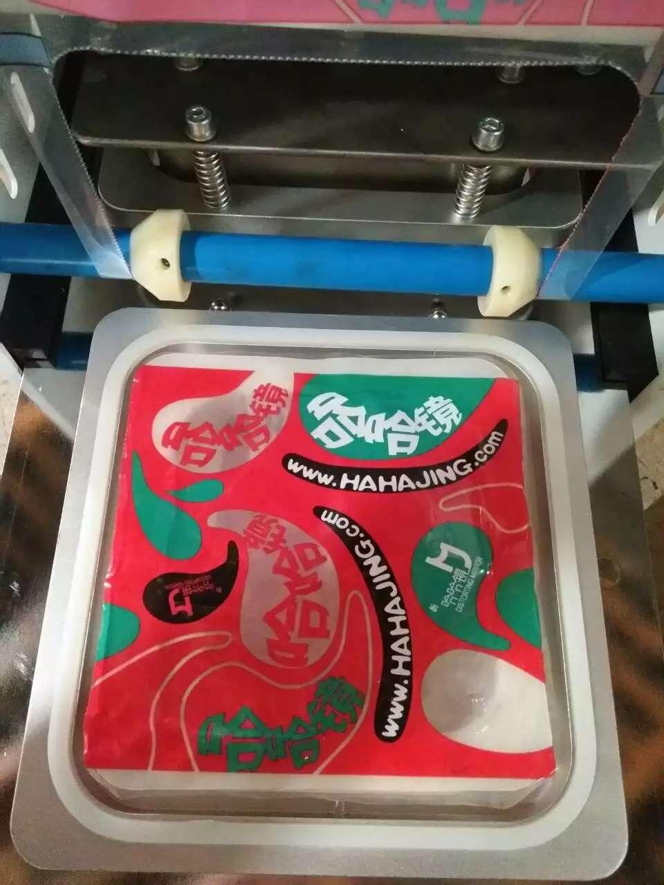 Good price semi automatic manual plastic film square box sealing machine for food container