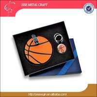 Personalized Travel Set Pu Leather Basketball Luggage Tag Gift Set With Key Chain