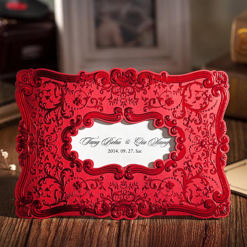 Die Cut Template Elegan Mewah Merah Timbul Saku Pernikahan Kartu