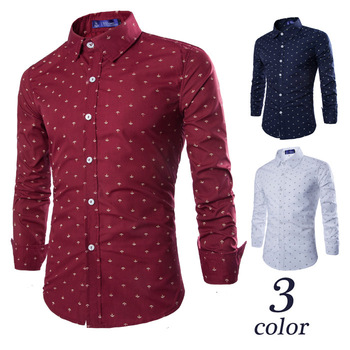 Ecowalson 2019 new European and American all-match Mens anchor printing long sleeve shirt