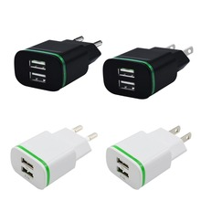 Glow Light Port Smart EU 5V 2.1A Travel Dual USB Charger Adapter Portable Mobile Phone Charger for iPhone Android etc.