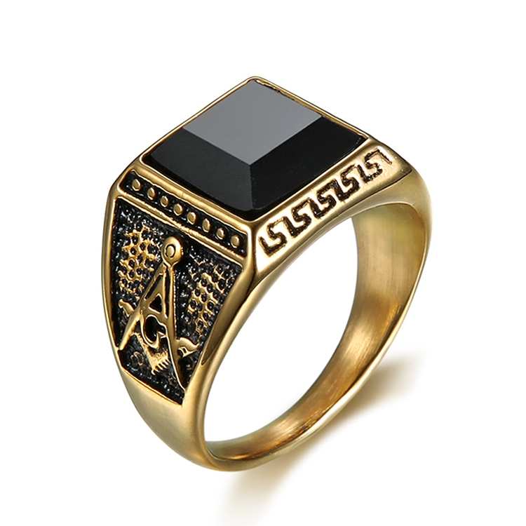 Cool boys mens gold plated single stone masonic rings black onyx design stone freemason rings (HG-014)