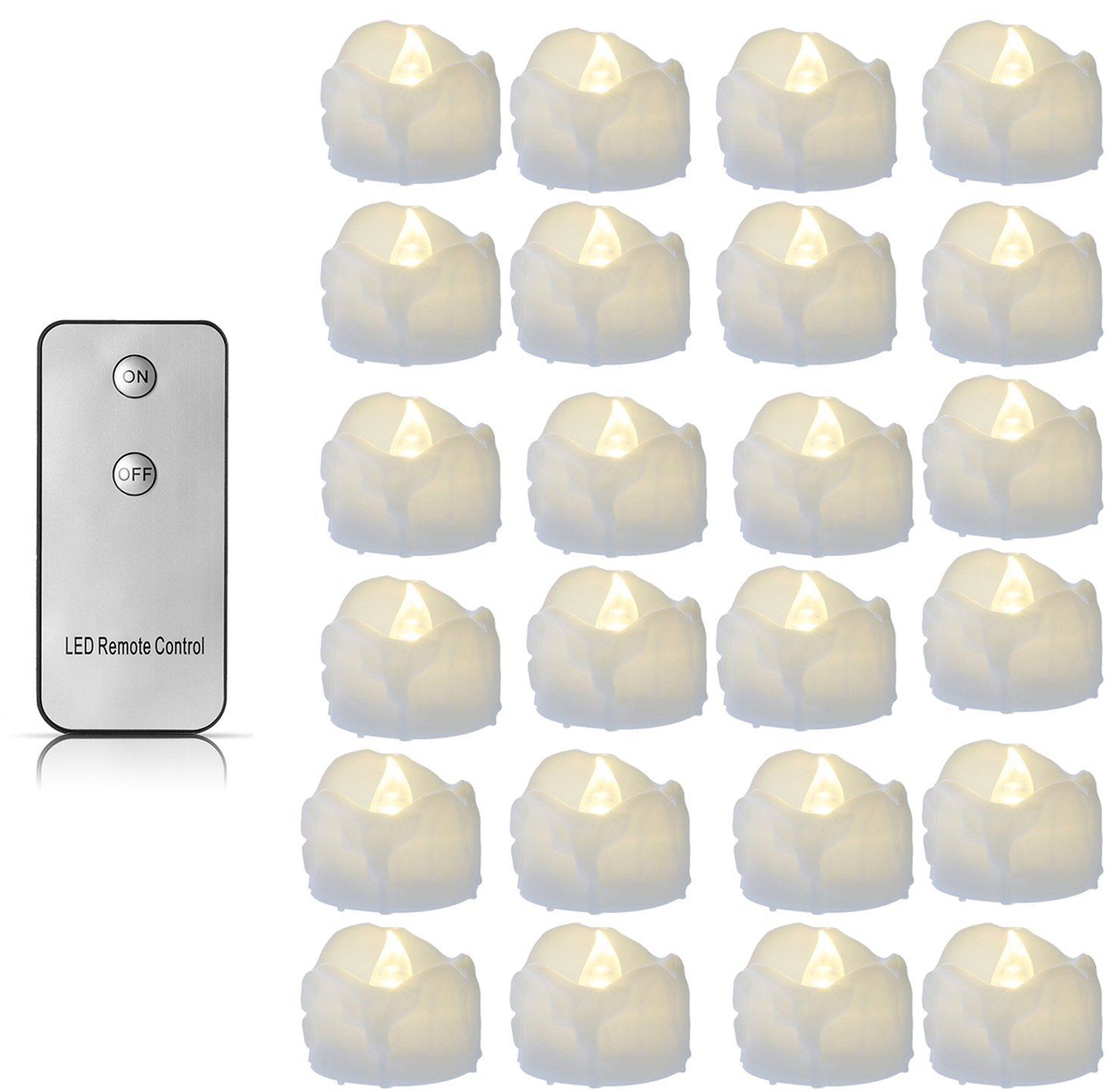LED Candles Light, Windspeed Flameless LED Tea Light Candles with Remote Control, Looks Like Real Wax Candle, Perfect Tealights for Wedding Parties Home Decoration Warm White - 24 Packs