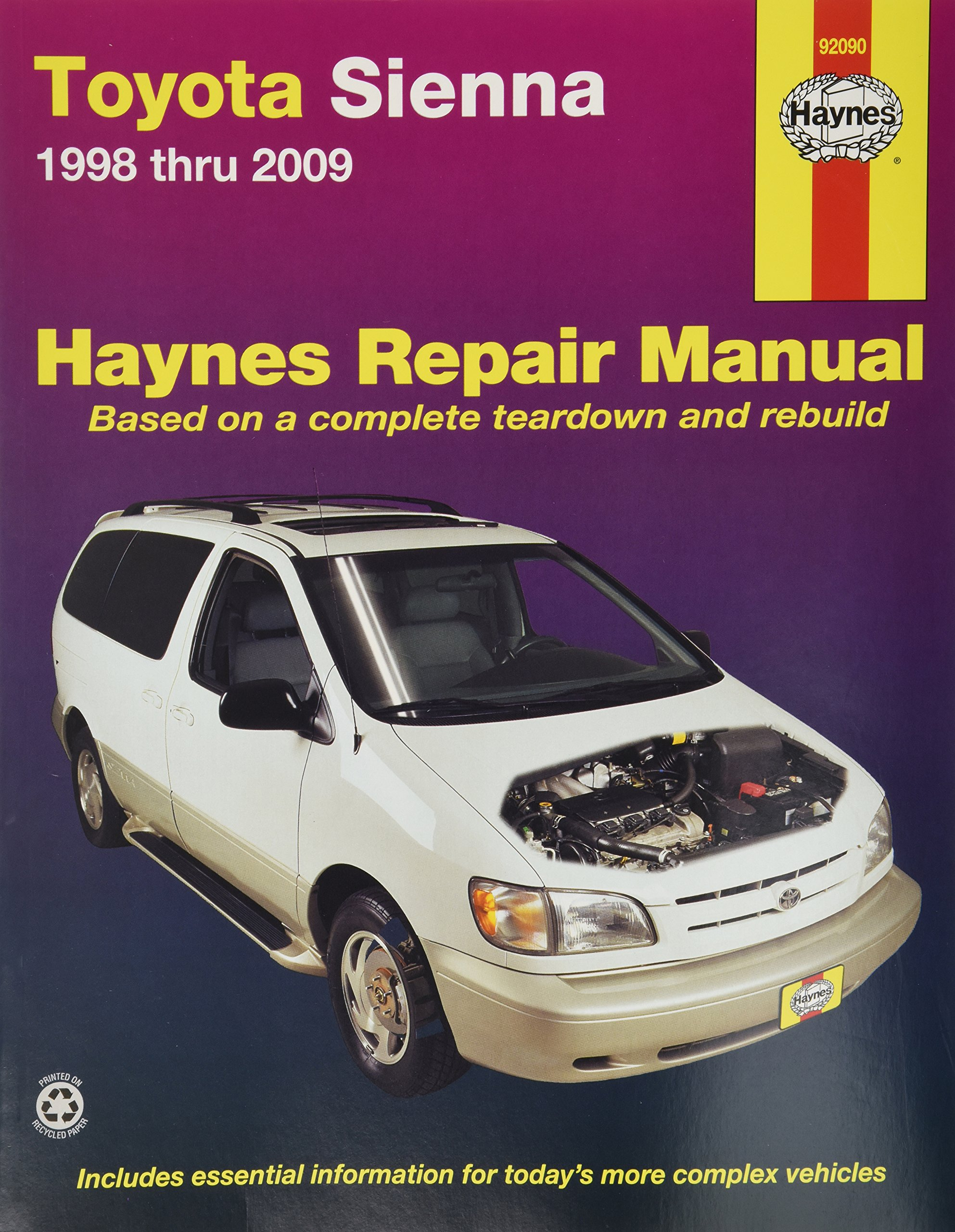 Get Quotations · Haynes Repair Manual for Toyota Sienna 1998 thru 2009  Number 92090