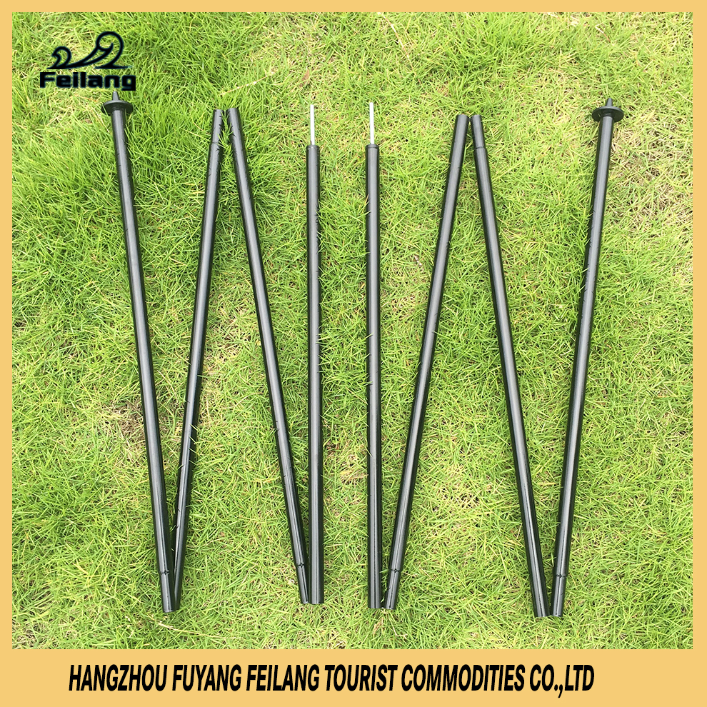 Flexible Metal Foldable Telescopic Extension Car Parking Beach Tent Pole With Spiked Plastic Feet