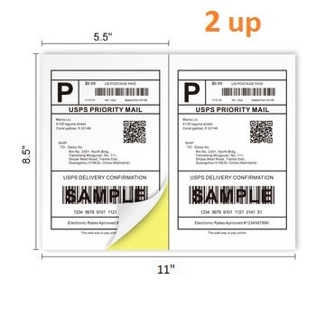"Free sample self adhesive 8.5"" x 5.5"" half sheet shipping labels 2up"