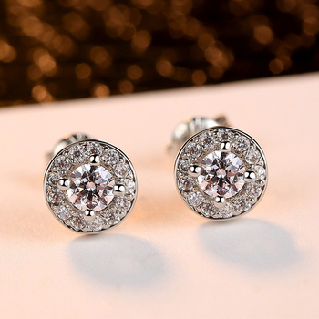 Fashion round earring Luxury full of cz crystal Holy light earrings for women
