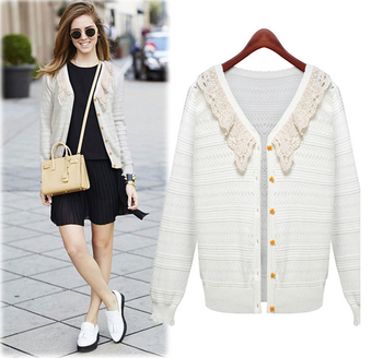W30510h Latest Design White Sweater Cardigan Women Lace Neck ...