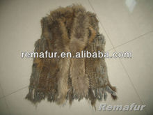 Knitted Rabbit Fur Vest with Raccoon Fur Collar Rabbit Fur Outwear
