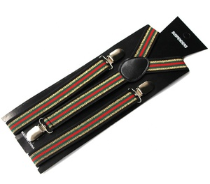 Factory Direct Top Quality Striped Decorative Elastic Mens Suspenders