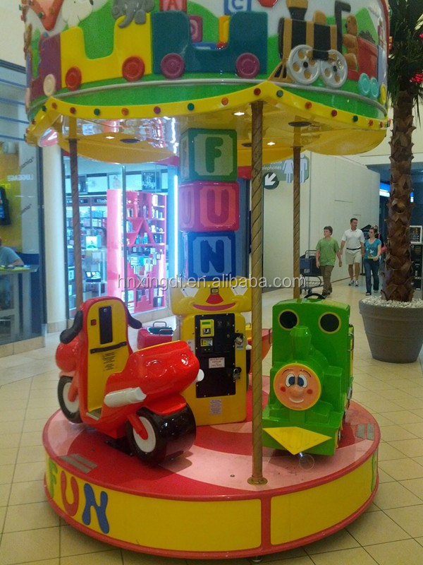 Shopping Mall 3 Seats Coin Operated Kiddie Rides Carousel