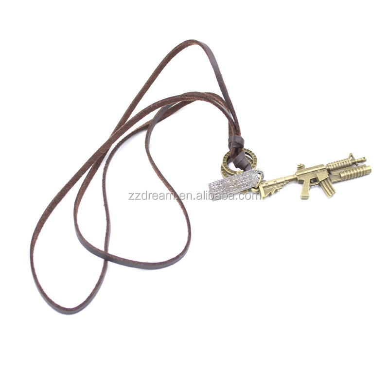 Made in China fashion leather alloy pendant gun necklace