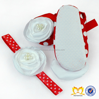 Posh Red Polka Dots Flower Baby Crib Walkers Shoes Design Match White Headband Baby Shoes In Bulk