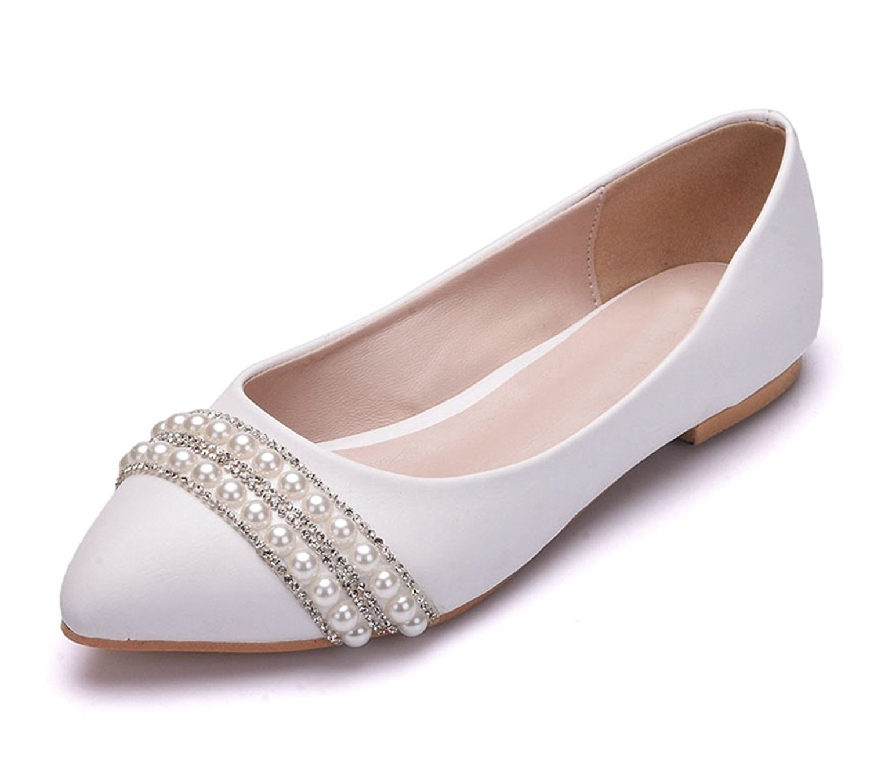 cb0f3bf61180 Get Quotations · Minishion Womens Poited Toe Beaded Satin Wedding Dress  Ballet Flats