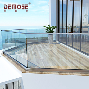 aluminum glass balustrade/ U base glass terrace railings