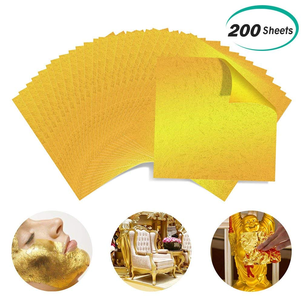 e5b31f1c3 Get Quotations · Alcoon 200 Sheets Imitation Gold Leaf Sheets Golden Foil  Paper for Slime, Arts, DIY