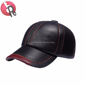 798e8610 Mens Cowhide Leather Solid Adjustable Baseball Cap Casual Cosy Sunshade  Sport Cap genuine leather hat
