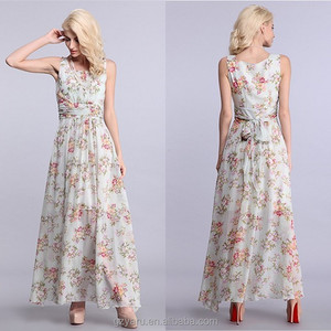 Floral print with pleat on waist plus size chiffon maxi dresses women