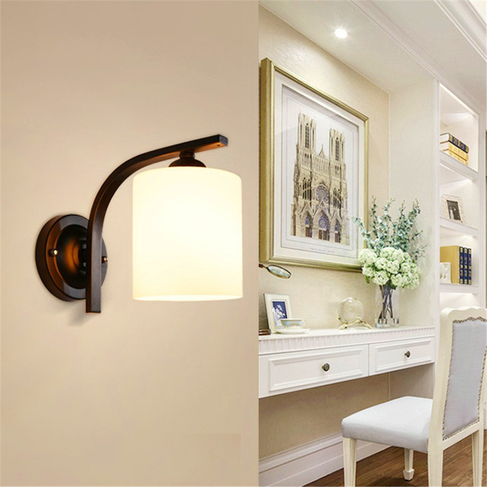 Wall lamp Creative wall lamp European room bedside glass wall lamp simple TV background wall glass wall lamp corridor Wall lamp/20x19cm