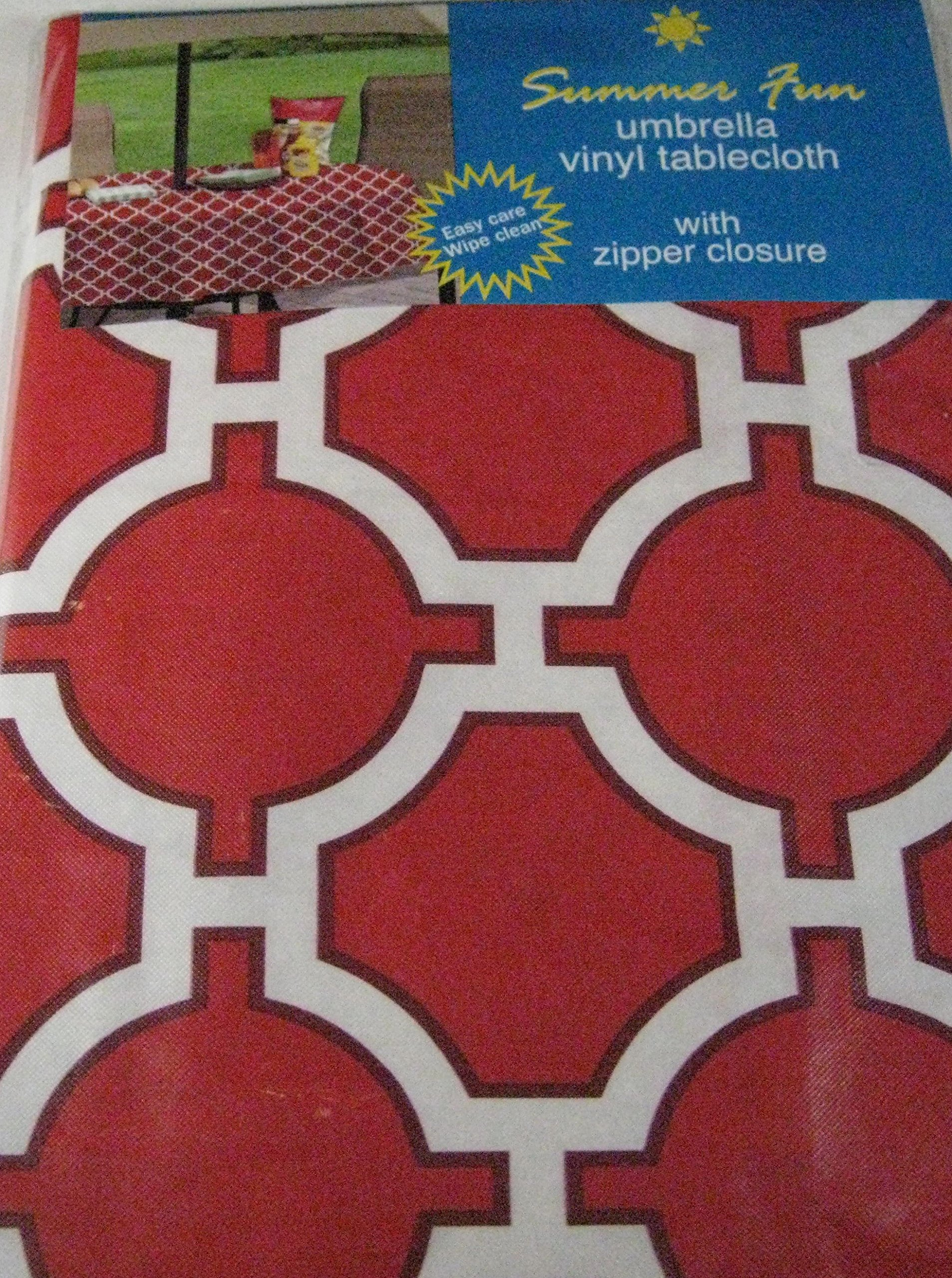 Attrayant Get Quotations · Summer Fun Red Lattice Flannel Back Vinyl Umbrella  Tablecloths With Hole And Zipper Assorted Sizes