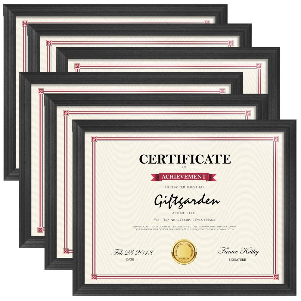 Giftgarden 8.5x11 Picture Frames Certificate Document Frame Set for Wall or Tabletop Display, Black, 6 Pack