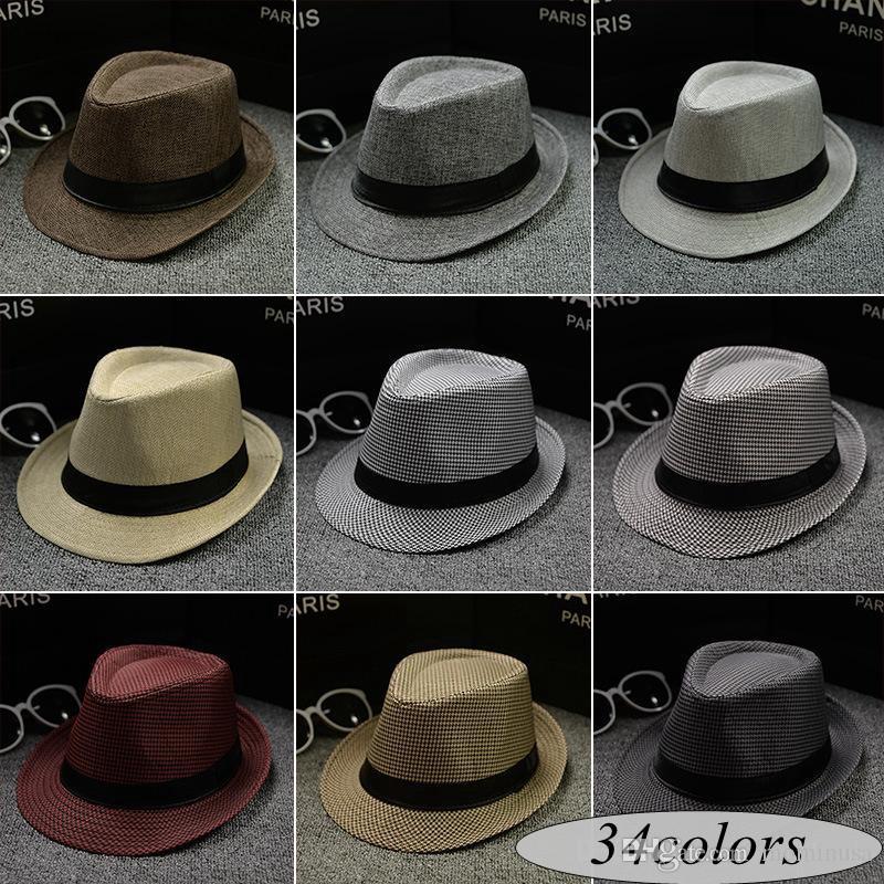 Yeni Moda Erkekler Kadınlar Pamuk/Keten Hasır Şapkalar Yumuşak Fedora panama şapkası Açık Cimri Brim Kapaklar üzerinde 34 Renk