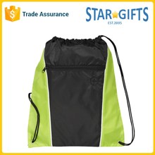 Eco-friendly Nylon Funnel Drawstring Cinch Backpack Shopping Bags With Earbud Port
