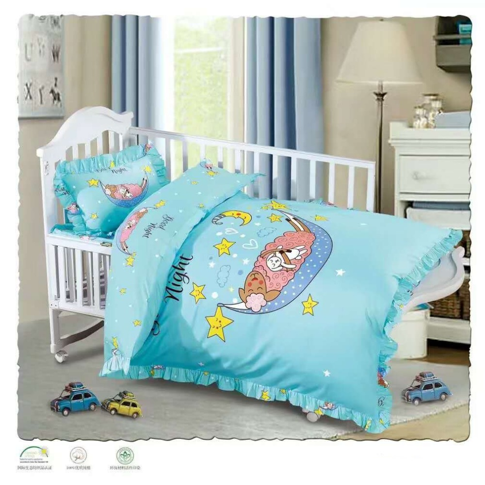 Factory price 100% cotton baby crib bedding set/quilt cover/bed sheet wholesale